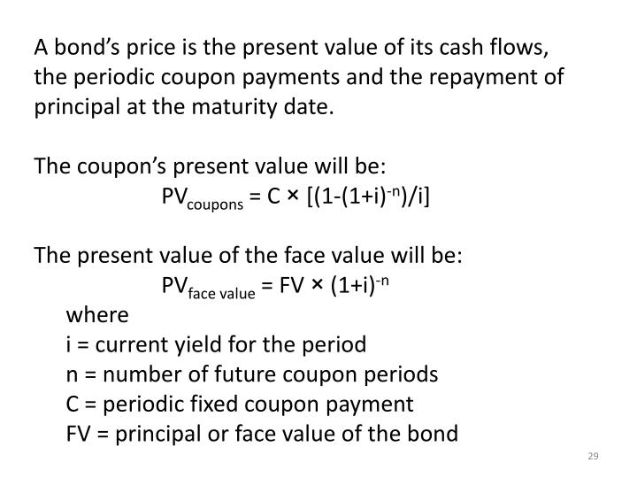 A bond's price is the present value of its cash flows,