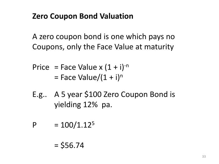 Zero Coupon Bond Valuation