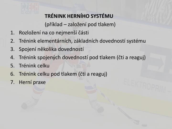TRÉNINK HERNÍHO SYSTÉMU
