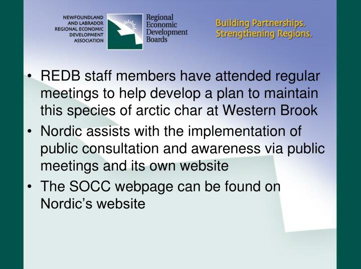 REDB staff members have attended regular meetings to help develop a plan to maintain this species of arctic char at Western Brook