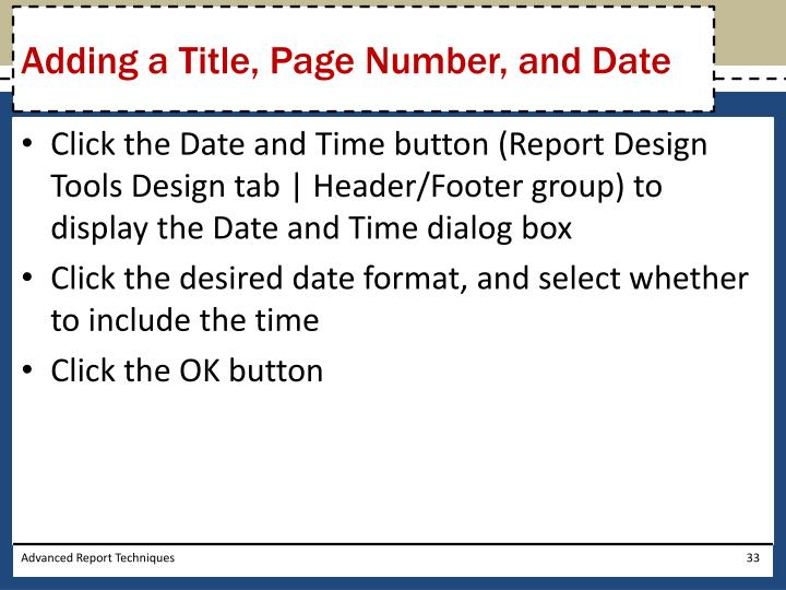 Adding a Title, Page Number, and Date