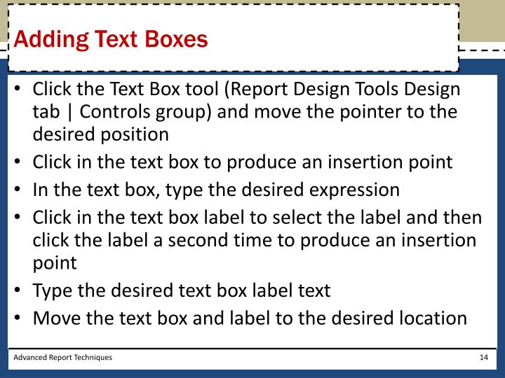 Adding Text Boxes