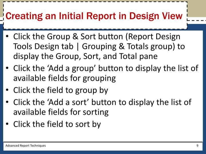 Creating an Initial Report in Design View