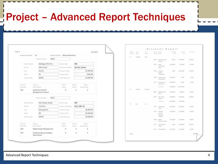 Project – Advanced Report Techniques