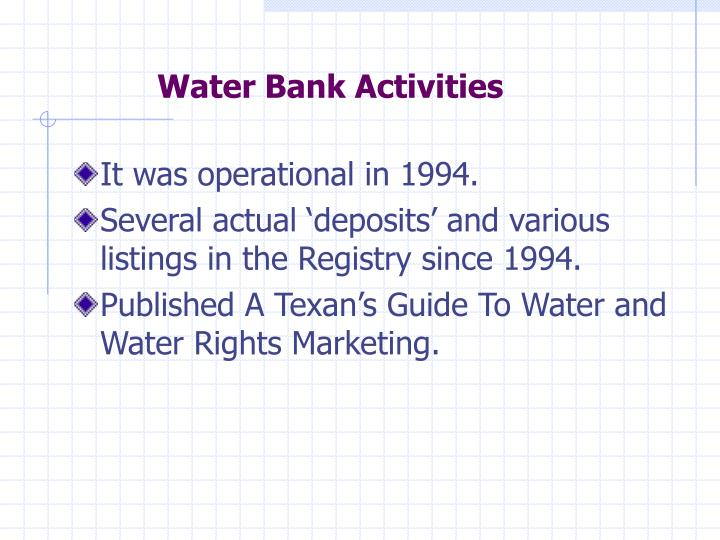 Water Bank Activities