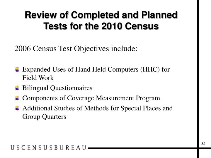 Review of Completed and Planned Tests for the 2010 Census