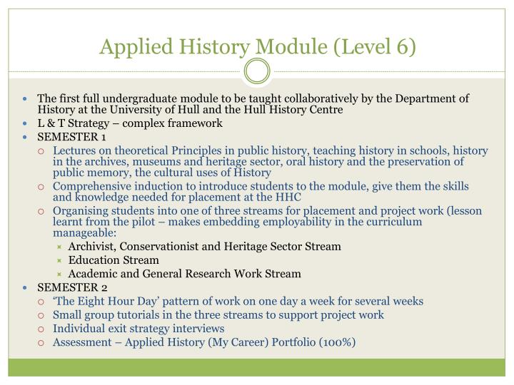 Applied History Module (Level 6)