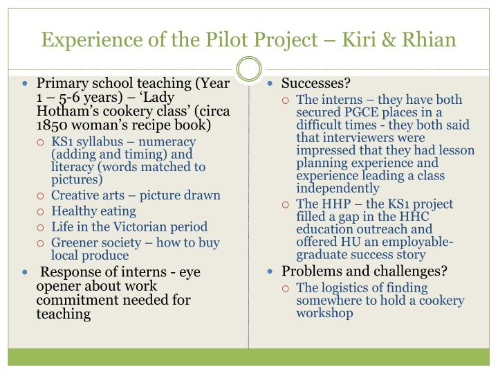Experience of the Pilot Project – Kiri & Rhian