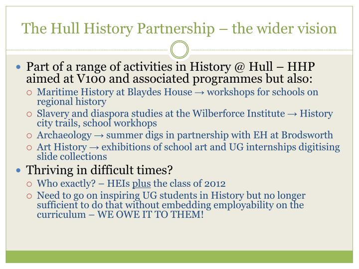 The Hull History Partnership – the wider vision