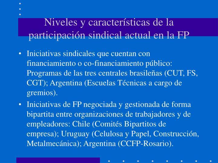 Niveles y características de la participación sindical actual en la FP