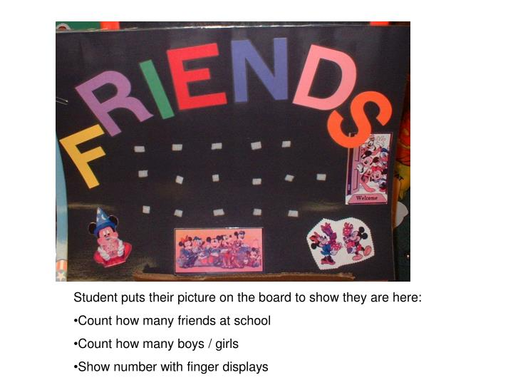 Student puts their picture on the board to show they are here: