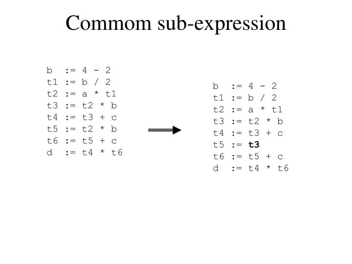 Commom sub-expression
