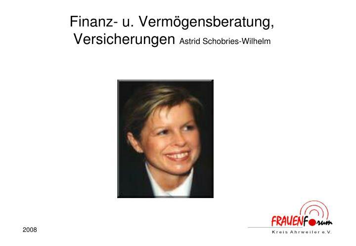 Finanz- u. Vermögensberatung, Versicherungen