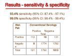 results sensitivity specificity