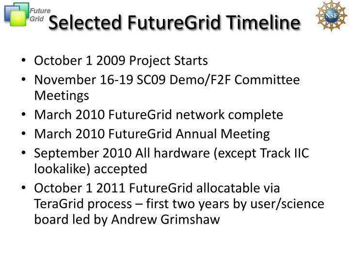 Selected FutureGrid Timeline
