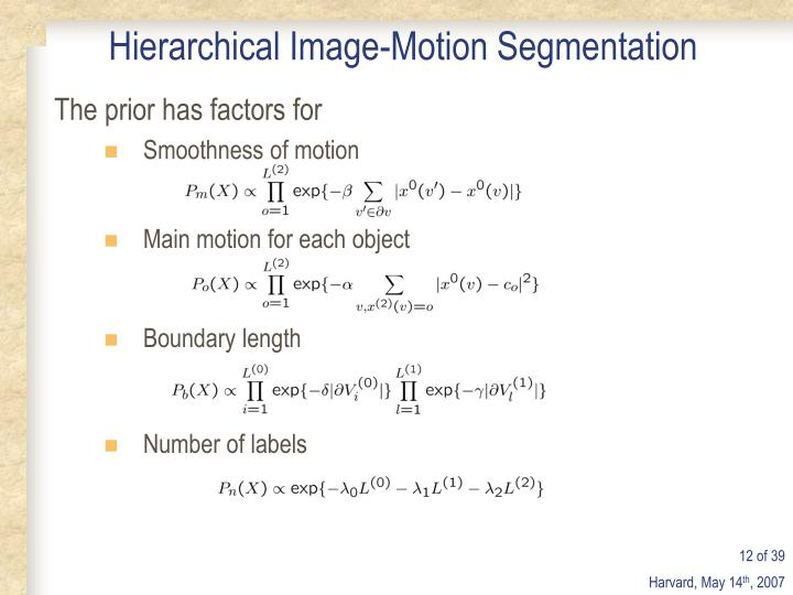 Main motion for each object