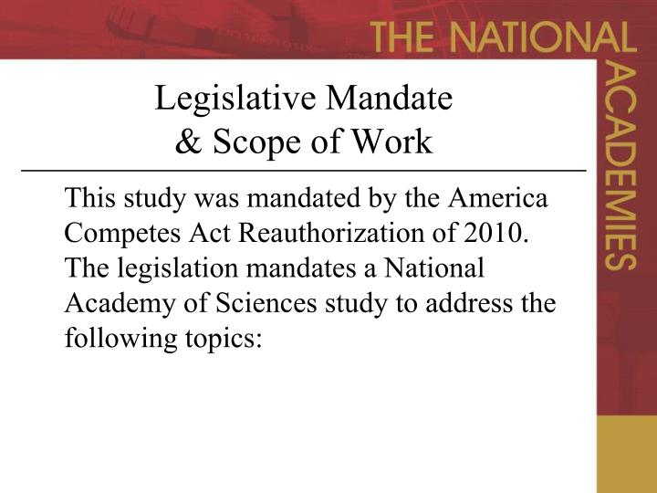 Legislative Mandate