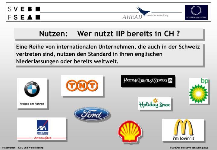 Eine Reihe von internationalen Unternehmen, die auch in der Schweiz