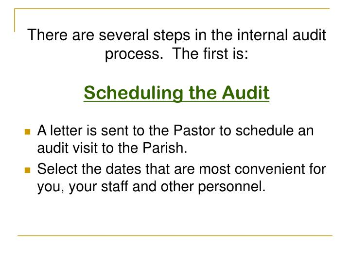There are several steps in the internal audit process.  The first is: