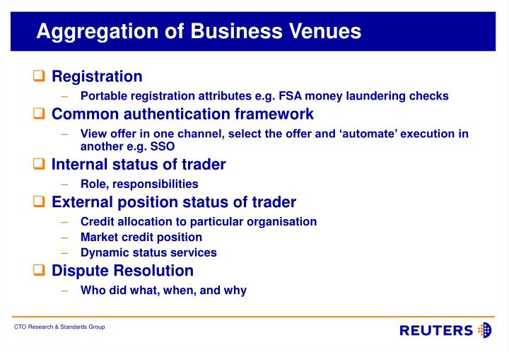 Aggregation of Business Venues