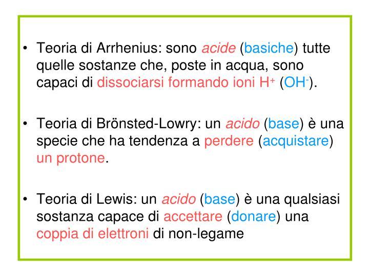 Teoria di Arrhenius: sono