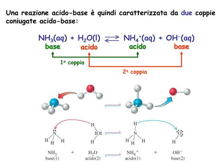 Una reazione acido-base  quindi caratterizzata da