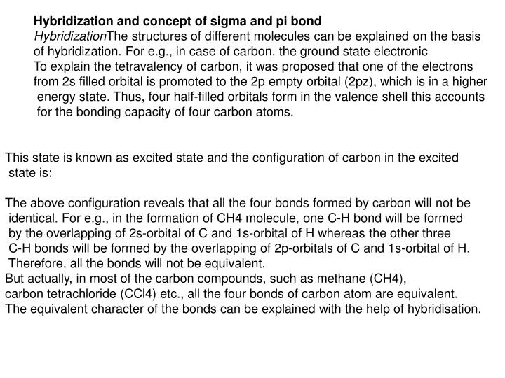 Hybridization and concept of sigma and pi bond