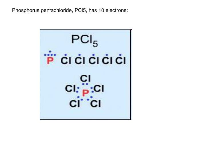 Phosphorus pentachloride, PCl5, has 10 electrons: