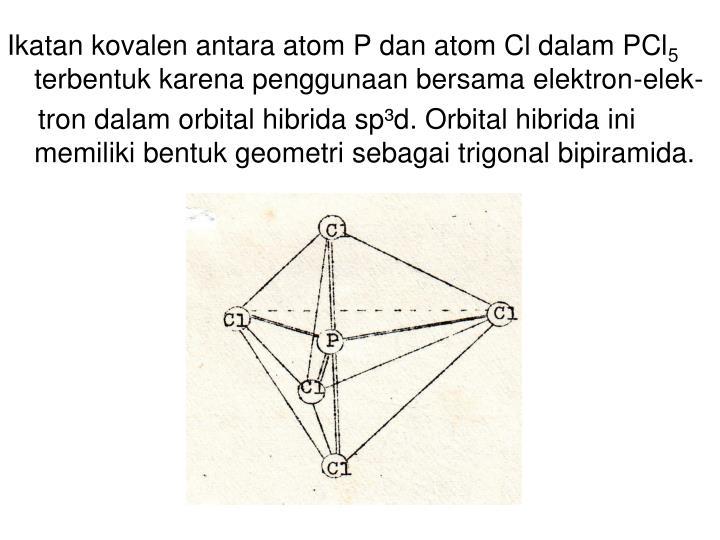 Ikatan kovalen antara atom P dan atom Cl dalam PCl