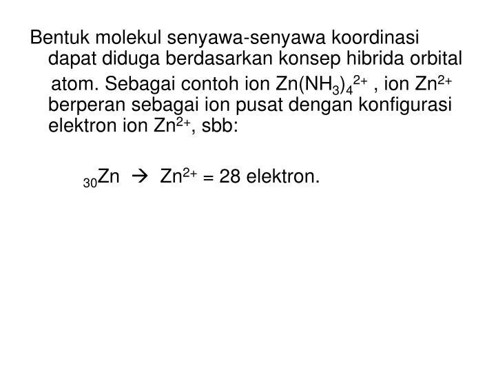Bentuk molekul senyawa-senyawa koordinasi dapat diduga berdasarkan konsep hibrida orbital