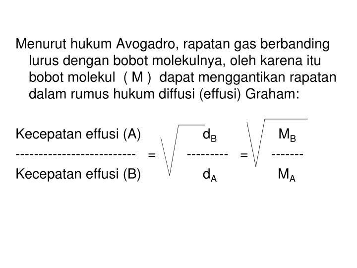 Menurut hukum Avogadro, rapatan gas berbanding lurus dengan bobot molekulnya, oleh karena itu bobot molekul  ( M )  dapat menggantikan rapatan dalam rumus hukum diffusi (effusi) Graham: