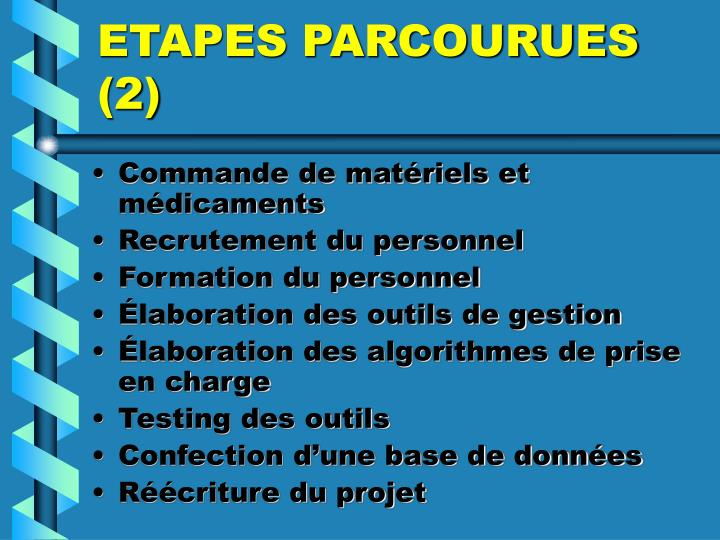 ETAPES PARCOURUES (2)