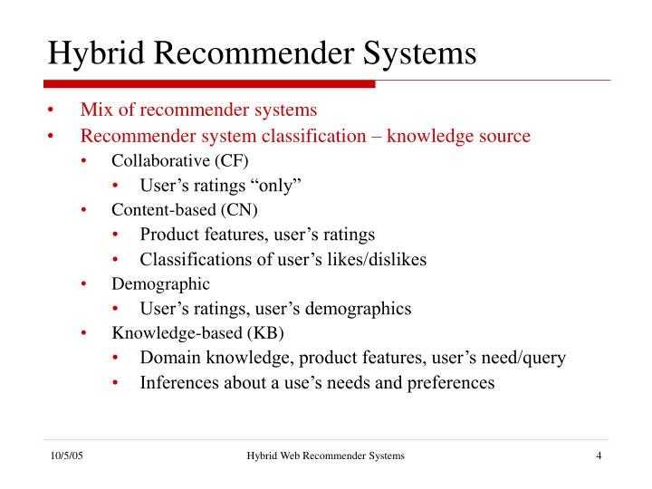 Hybrid Recommender Systems