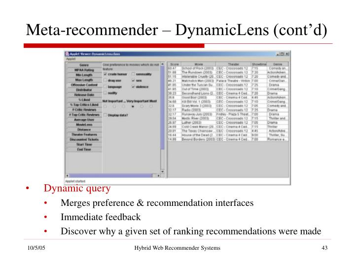 Meta-recommender – DynamicLens (cont'd)