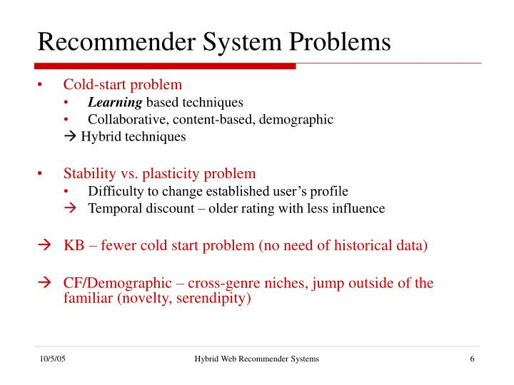 Recommender System Problems