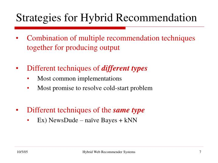 Strategies for Hybrid Recommendation