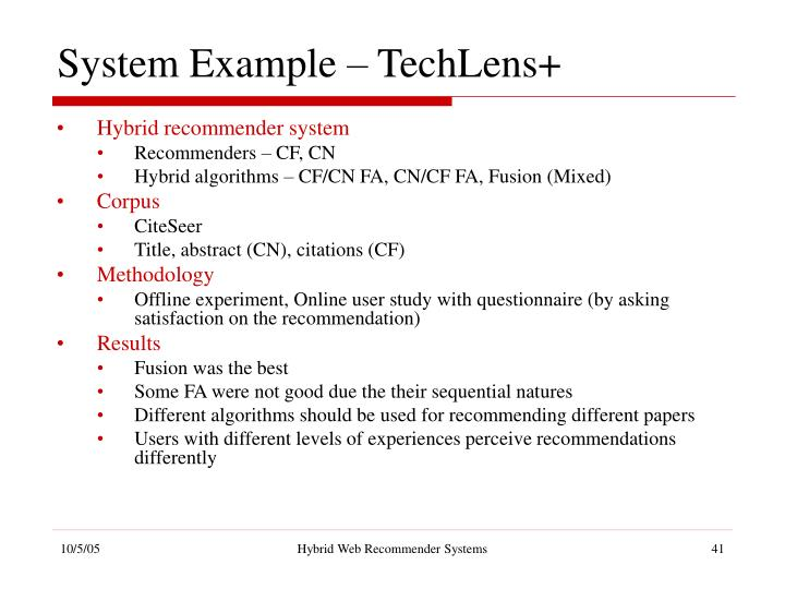 System Example – TechLens+