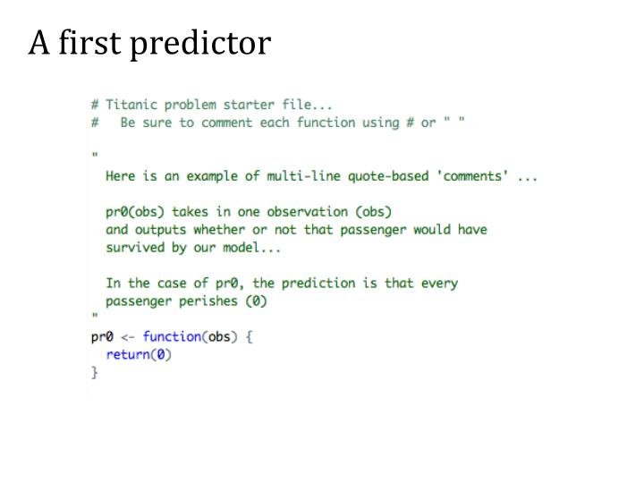 A first predictor