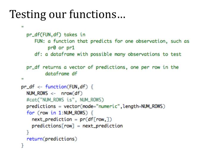 Testing our functions…