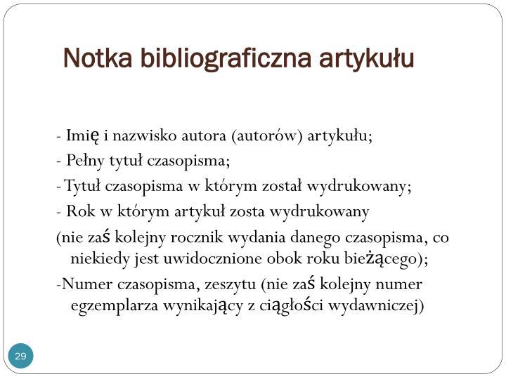 Notka bibliograficzna artykułu