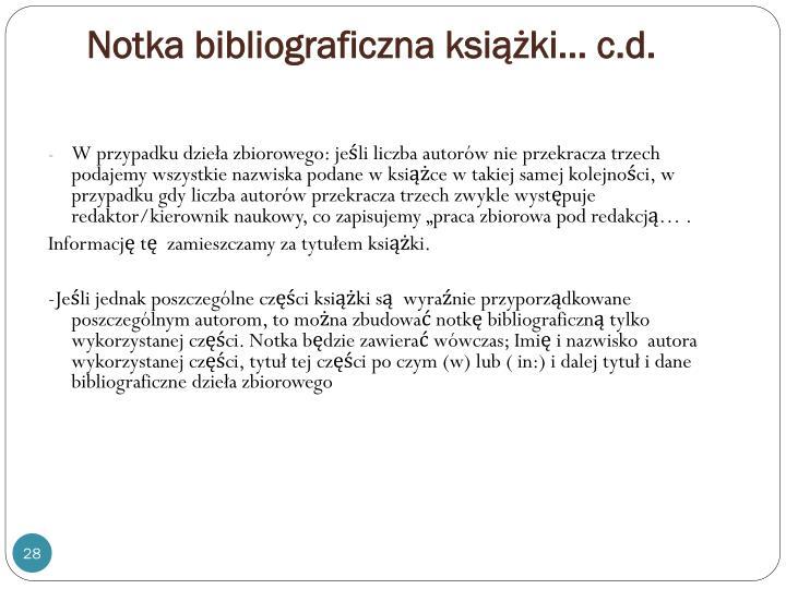 Notka bibliograficzna książki… c.d.