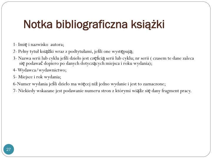 Notka bibliograficzna książki