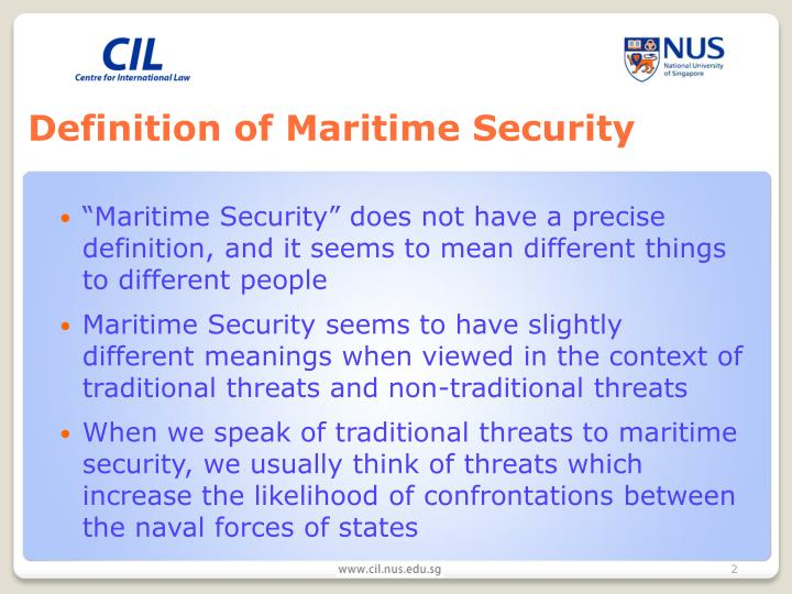 Definition of maritime security