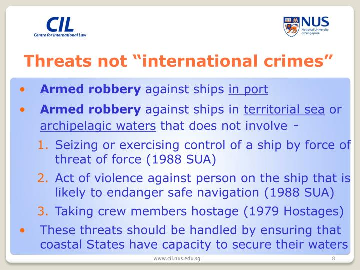 "Threats not ""international crimes"""