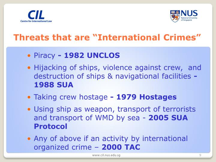 "Threats that are ""International Crimes"""
