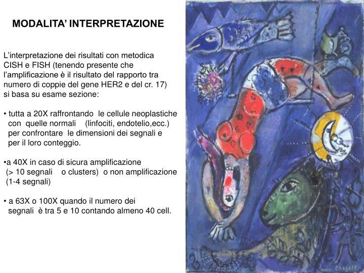MODALITA' INTERPRETAZIONE