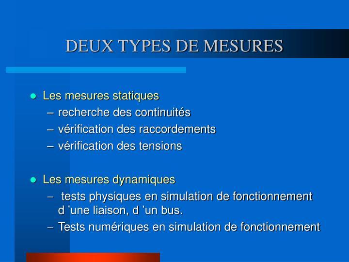 DEUX TYPES DE MESURES