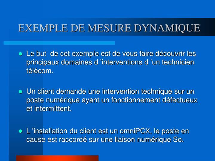 EXEMPLE DE MESURE DYNAMIQUE