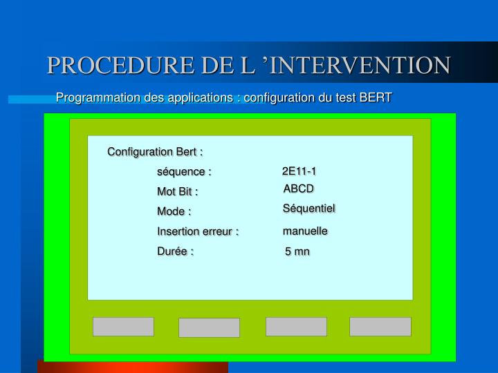 PROCEDURE DE L 'INTERVENTION
