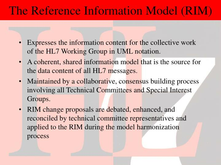 The Reference Information Model (RIM)